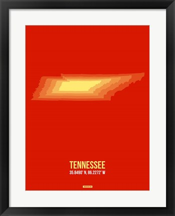 Framed Tennessee Radiant Map 2 Print