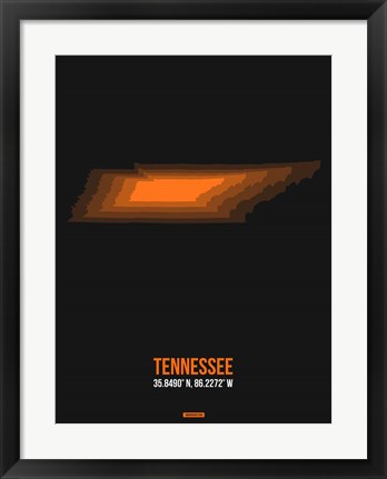 Framed Tennessee Radiant Map 5 Print