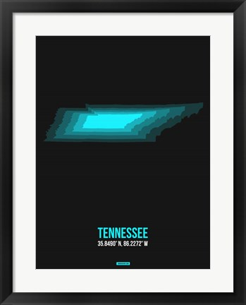 Framed Tennessee Radiant Map 6 Print