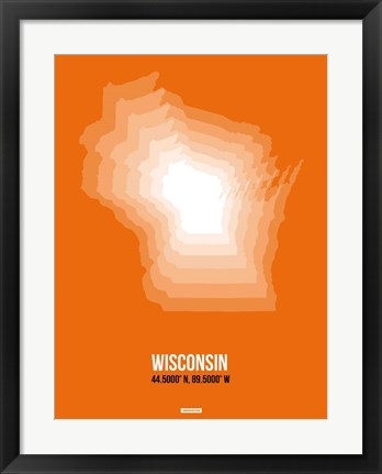 Framed Wisconsin Radiant Map 3 Print