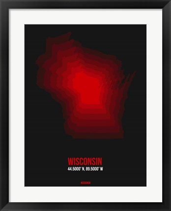 Framed Wisconsin Radiant Map 6 Print