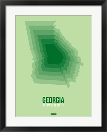 Framed Georgia Radiant Map 3 Print