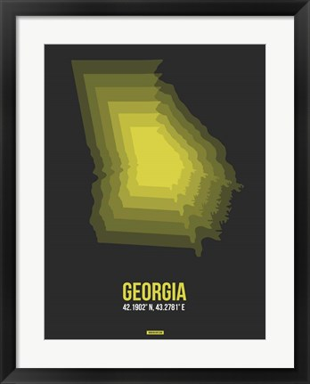 Framed Georgia Radiant Map 6 Print