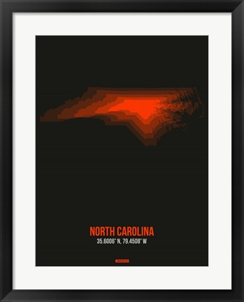 Framed North Carolina Radiant Map 6 Print