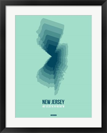 Framed New Jersey Radiant Map 2 Print