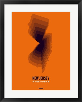 Framed New Jersey Radiant Map 3 Print