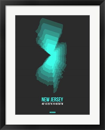 Framed New Jersey Radiant Map 4 Print