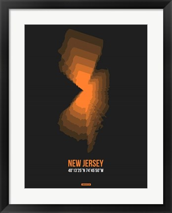Framed New Jersey Radiant Map 5 Print