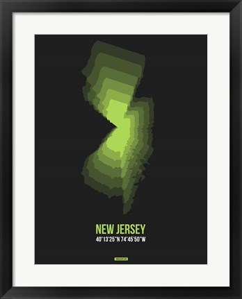 Framed New Jersey Radiant Map 6 Print
