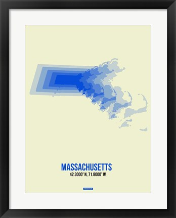 Framed Massachusetts Radiant Map 1 Print