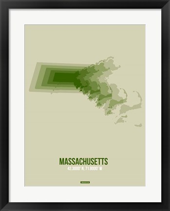 Framed Massachusetts Radiant Map 3 Print