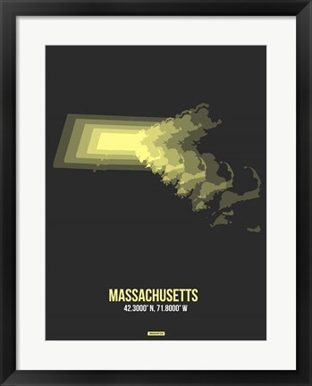 Framed Massachusetts Radiant Map 4 Print
