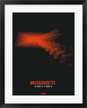 Framed Massachusetts Radiant Map 5 Print