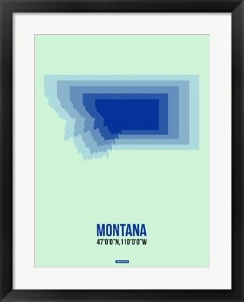 Framed Montana Radiant Map 2 Print