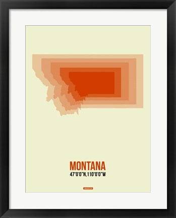 Framed Montana Radiant Map 3 Print