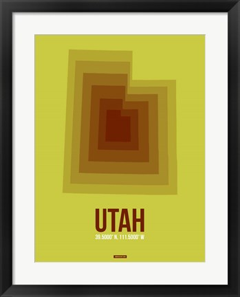 Framed Utah Radiant Map 3 Print