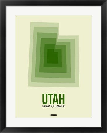 Framed Utah Radiant Map 4 Print