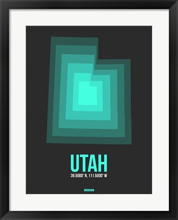 Framed Utah Radiant Map 5 Print