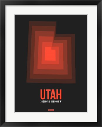 Framed Utah Radiant Map 6 Print
