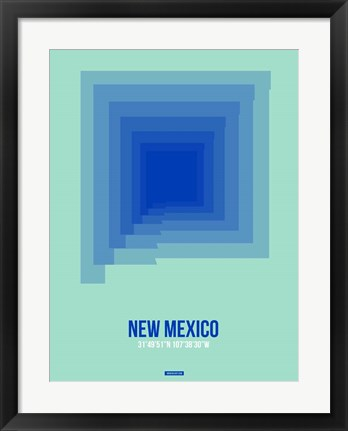 Framed New Mexico Radiant Map 1 Print