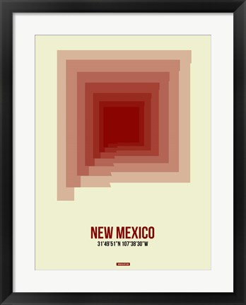 Framed New Mexico Radiant Map 2 Print