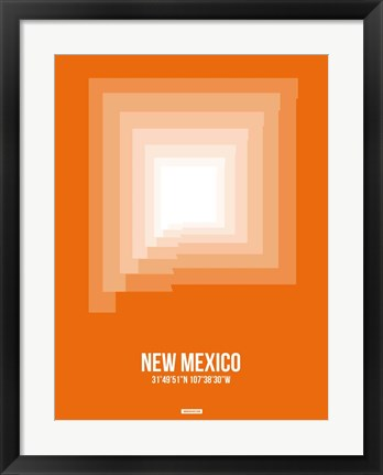 Framed New Mexico Radiant Map 3 Print