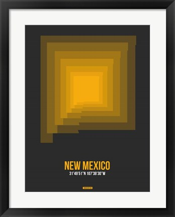 Framed New Mexico Radiant Map 4 Print