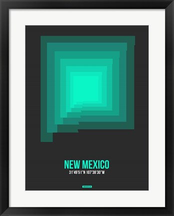 Framed New Mexico Radiant Map 5 Print