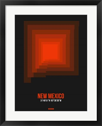 Framed New Mexico Radiant Map 6 Print