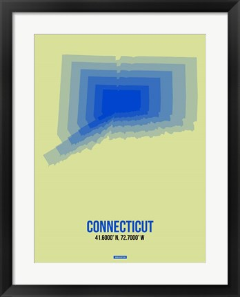 Framed Connecticut Radiant Map 1 Print
