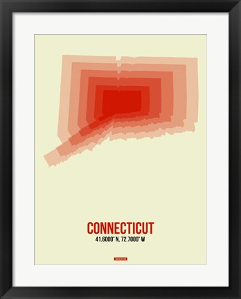 Framed Connecticut Radiant Map 3 Print