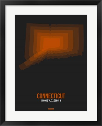 Framed Connecticut Radiant Map 4 Print