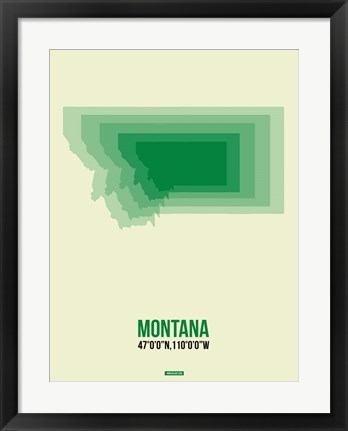 Framed Montana Radiant Map 7 Print