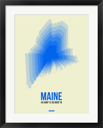Framed Maine Radiant Map 1 Print