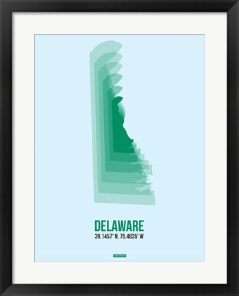 Framed Delaware Radiant Map 2 Print