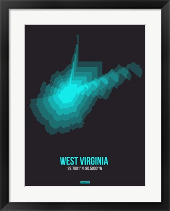 Framed West Virginia Radiant Map 6 Print