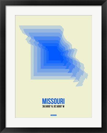Framed Missouri Radiant Map 1 Print