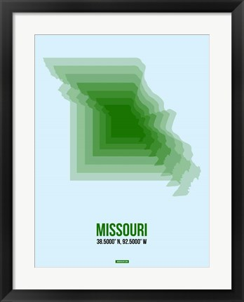 Framed Missouri Radiant Map 2 Print