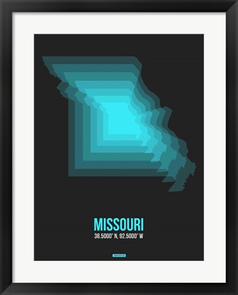 Framed Missouri Radiant Map 5 Print