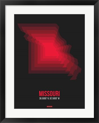 Framed Missouri Radiant Map 6 Print