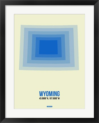 Framed Wyoming Radiant Map 1 Print