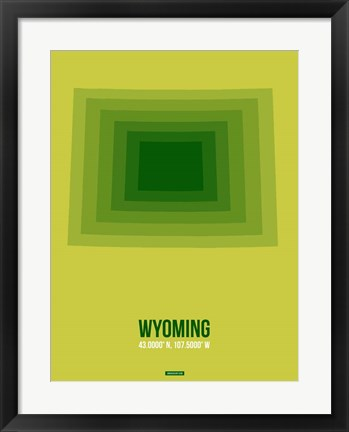 Framed Wyoming Radiant Map 2 Print