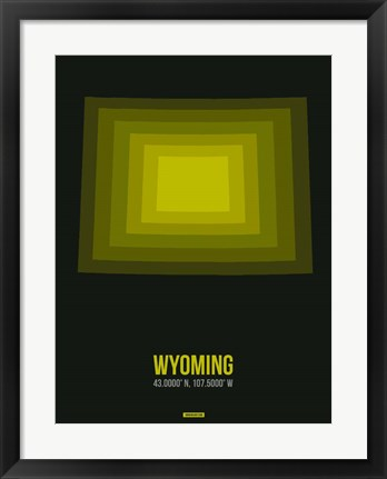 Framed Wyoming Radiant Map 6 Print