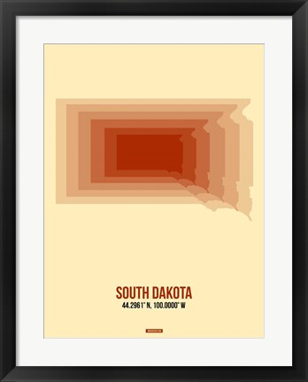 Framed South Dakota Radiant Map 1 Print