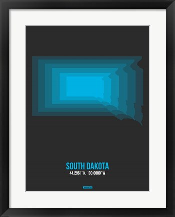 Framed South Dakota Radiant Map 5 Print