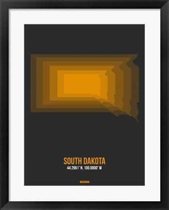 Framed South Dakota Radiant Map 6 Print
