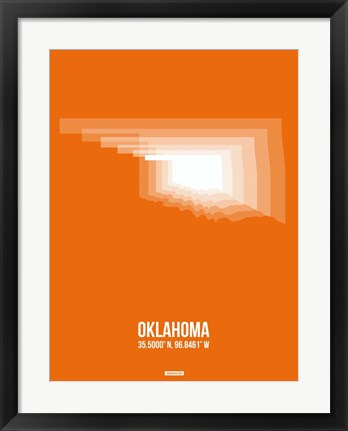 Framed Oklahoma Radiant Map 3 Print