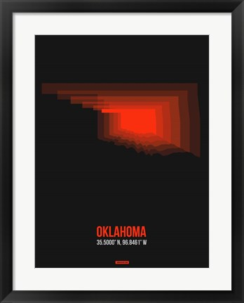 Framed Oklahoma Radiant Map 5 Print