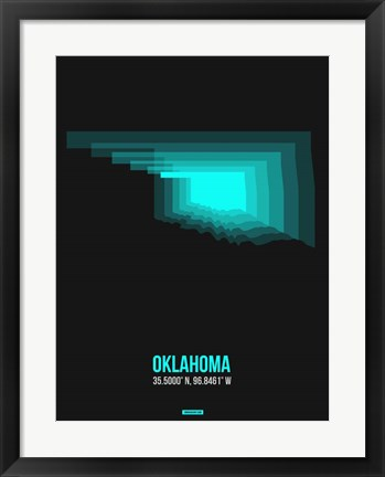 Framed Oklahoma Radiant Map 6 Print