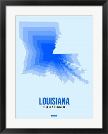 Framed Louisiana Radiant Map 1 Print